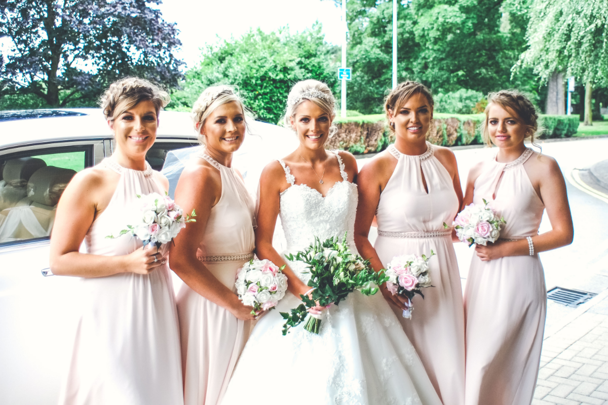 bride and four bridesmaids
